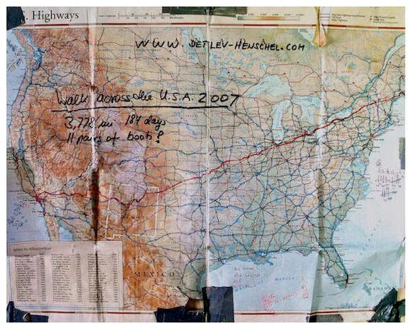 Route - PlanKarte - Fuß durch Nordamerika